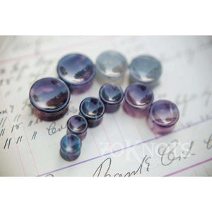 Concave Rainbow Fluorite Double Flared Plugs, Pair - 70 Knots