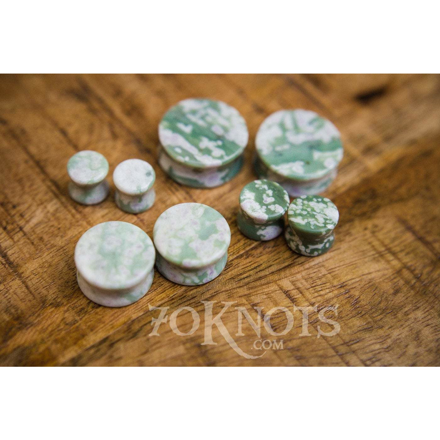 Peace Jade Double Flared Plugs, Pair - 70 Knots