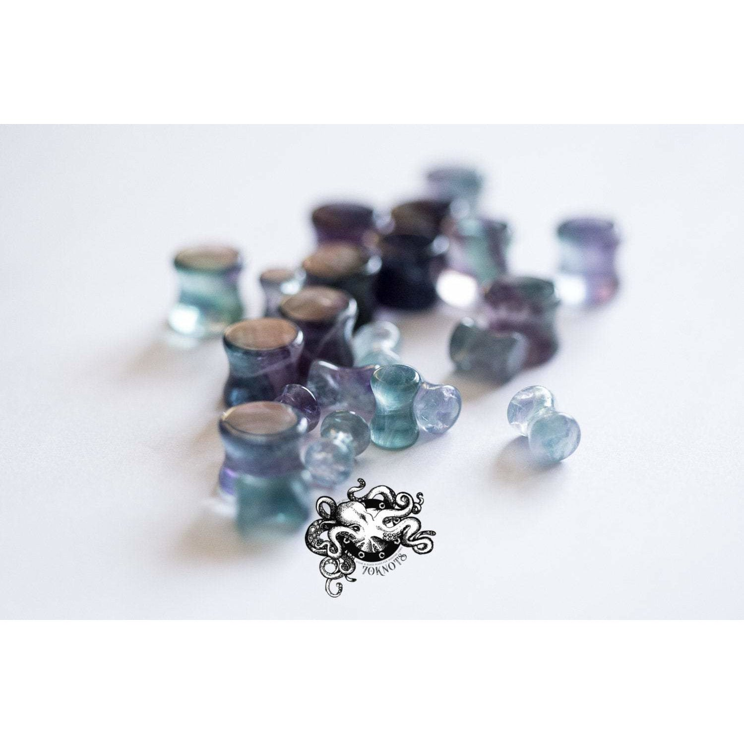 Rainbow Fluorite Double Flared Plugs, Pair - 70 Knots