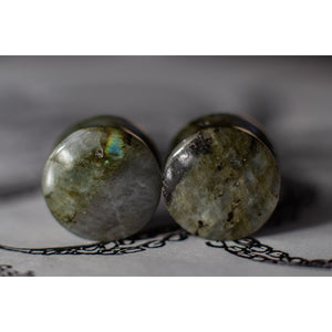 "WYSIWYG Natural Labradorite Stone Teardrops 70 Knots 19mm 3/4"" - Double Flared - Organic - Plugs OOAK 19G - 70 Knots"