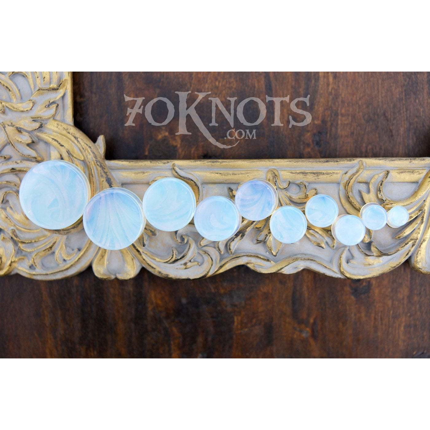 Opalite Double Flared Plugs, Pair - 70 Knots