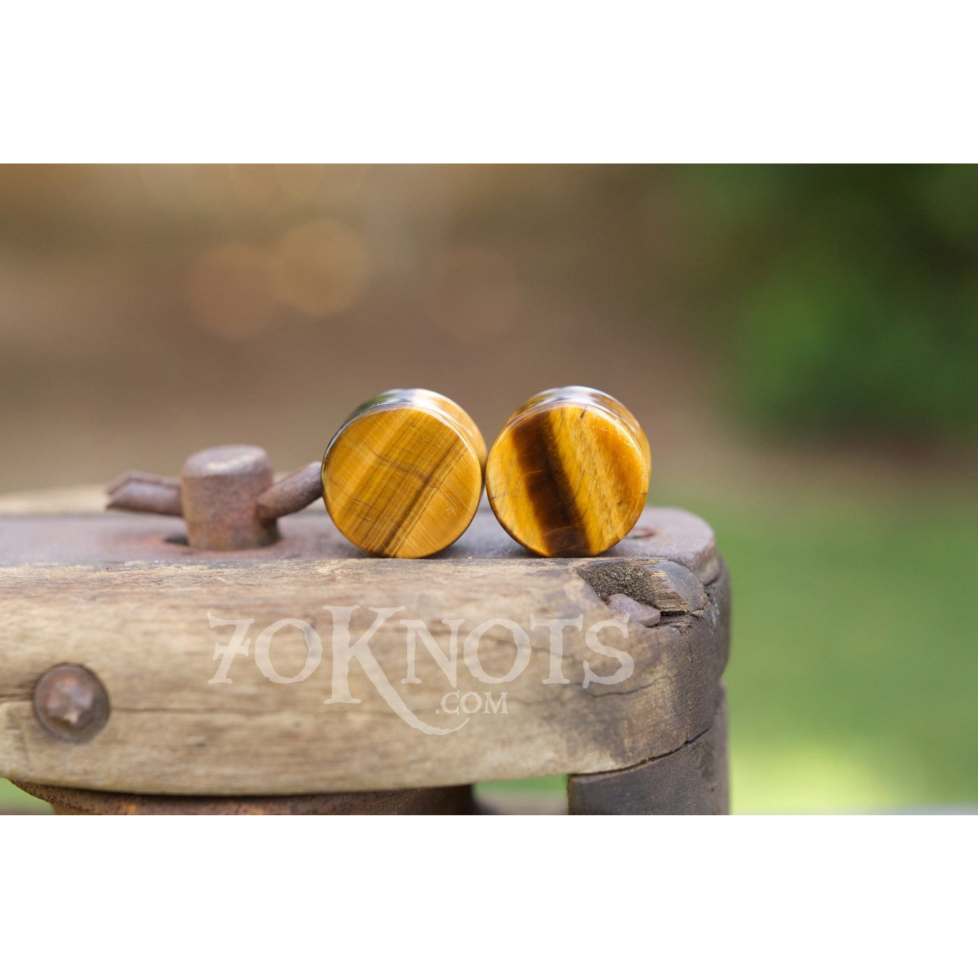 Tigers Eye Double Flared Plugs, Pair - 70 Knots