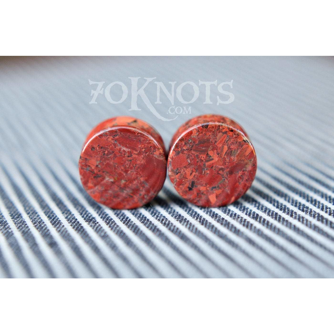 Poppy Jasper Double Flared Plugs, Pair - 70 Knots