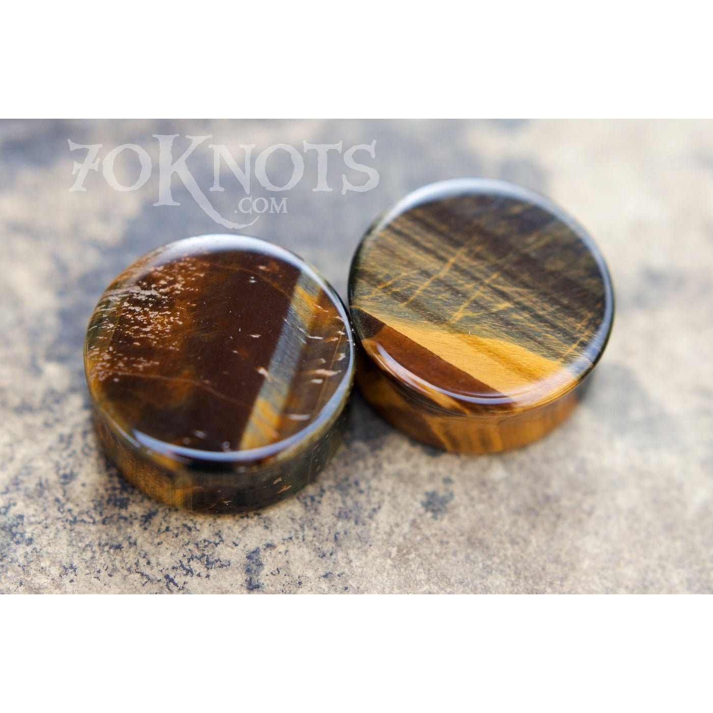 Blue Tigers Eye Double Flared Plugs, Pair - 70 Knots