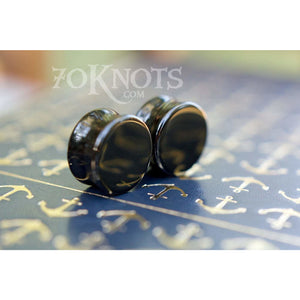 Obsidian Plugs, Double Flared, Pair - 70 Knots