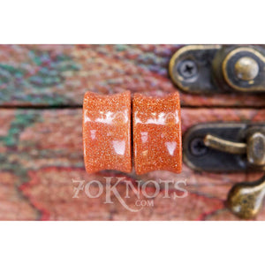 Goldstone Galaxy Double Flared Plugs, Pair - 70 Knots