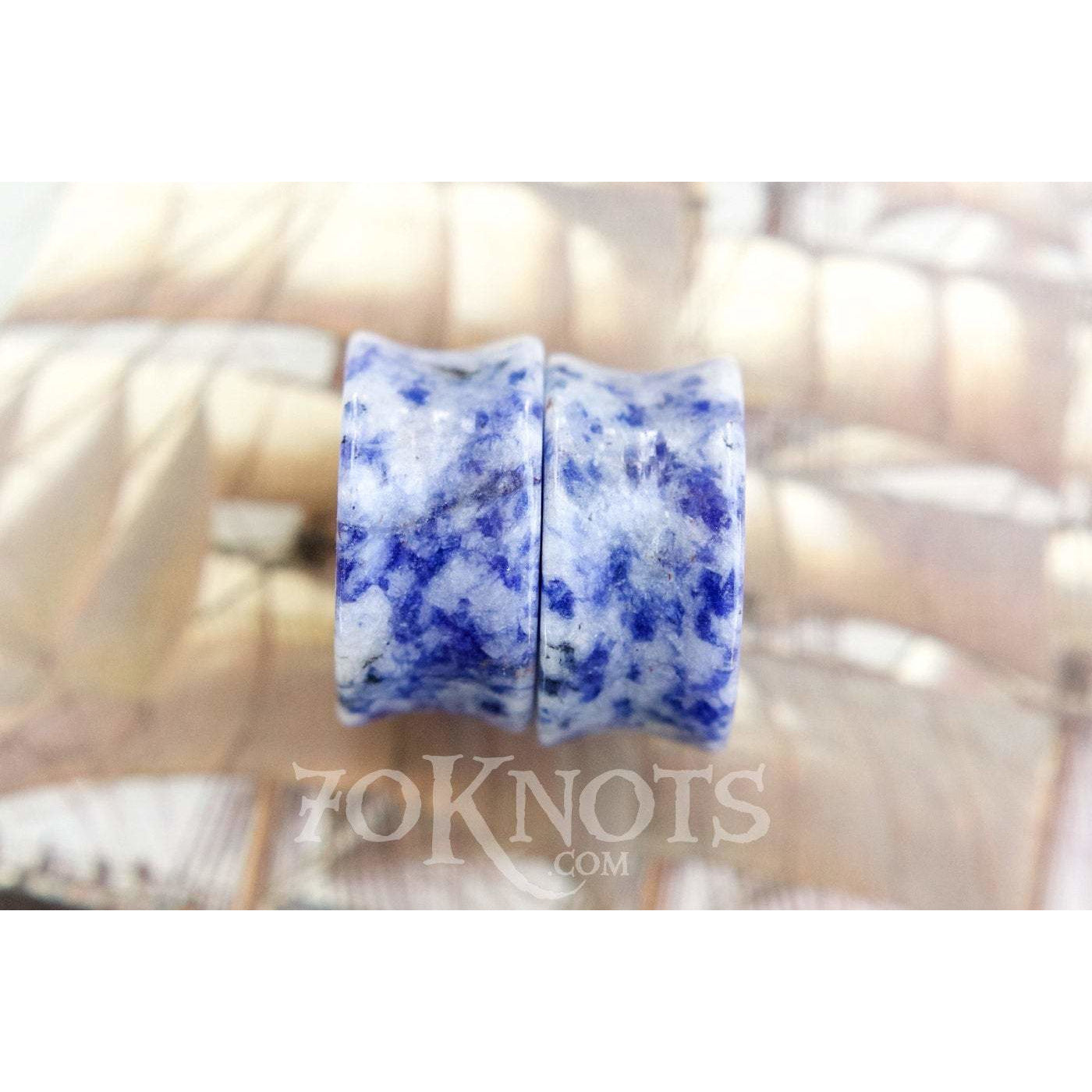 Brazilian Sodalite Double Flared Plugs, Pair - 70 Knots