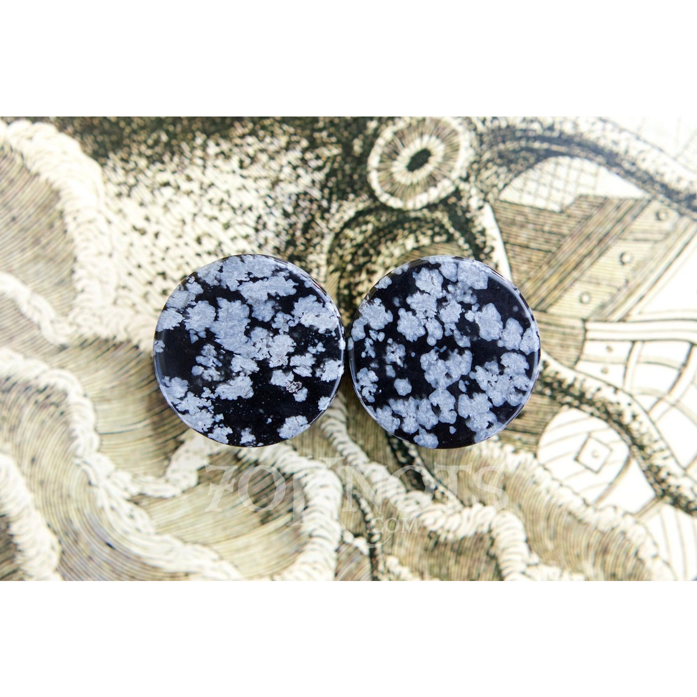 Snowflake Obsidian Double Flared Plugs, Pair - 70 Knots