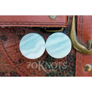 Amazonite Double Flared Plugs, Pair - 70 Knots