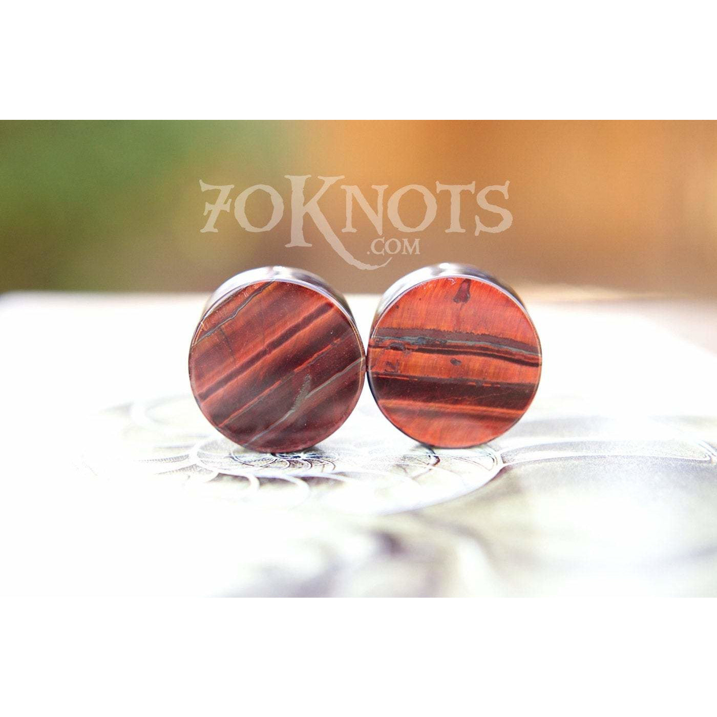 Red Tigers Eye Double Flared Plugs, Pair - 70 Knots