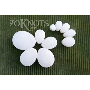 Teardrop White Quartz Plugs, Double Flared Organic - 70 Knots