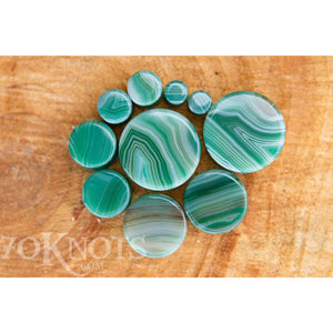 Green Striped Agate Double Flared Plugs, Pair - 70 Knots
