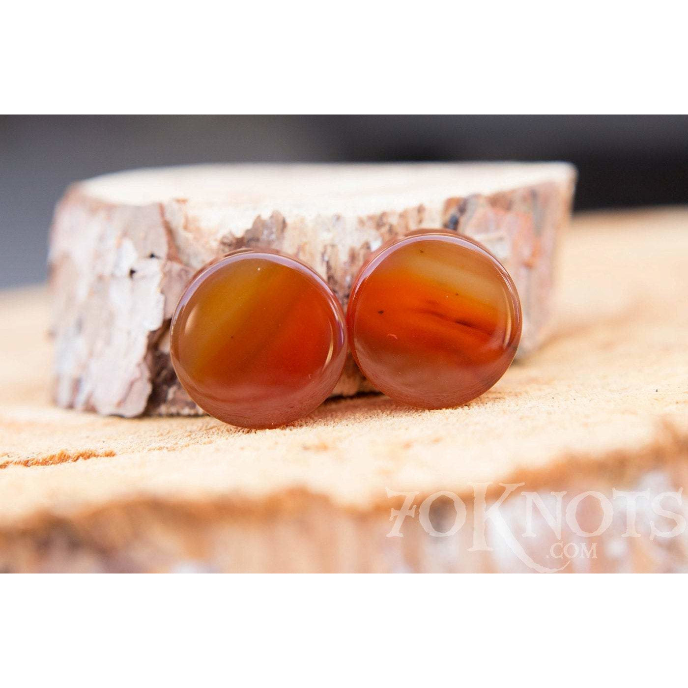Red Agate Double Flared Plugs, Pair - 70 Knots