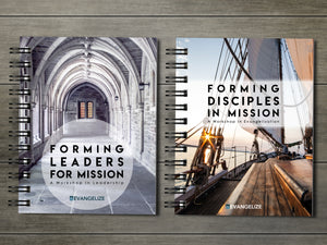 arched church hallway, wood sailboat, ocean, sunset, two workbooks, forming leaders for mission, forming disciples in mission, evangelize boston, catholic