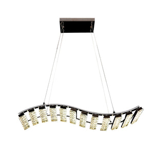 Crystal Chandelier Light LED Modern Wave Shaped Including Warm White / White LED Options