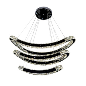 Crystal Chandelier LED Light Modern Oval Ring 3 Tier Including Warm White / White LED Options