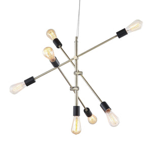 Pendant Light Chandelier Sputnik Industrial Contemporary Brass 7 Bulb Iron