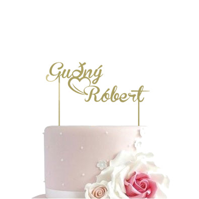 Cake toppers - name and heart