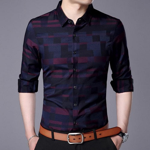 Patterned Casual Dress Shirt