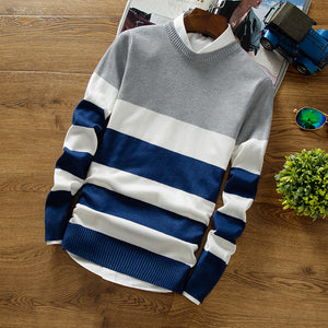 Horizontal-Striped Color Sweater