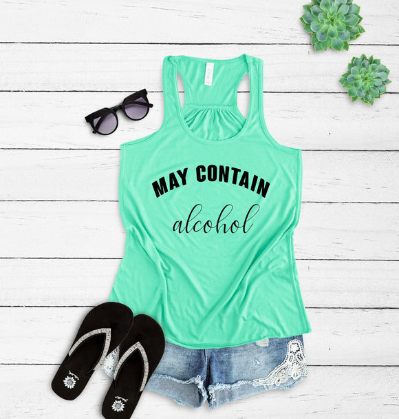bd96673dae51e8 May Contain Alcohol | Womens Raceback Tank | Funny Drinking Shirt |  Bachelorette Party Shirt