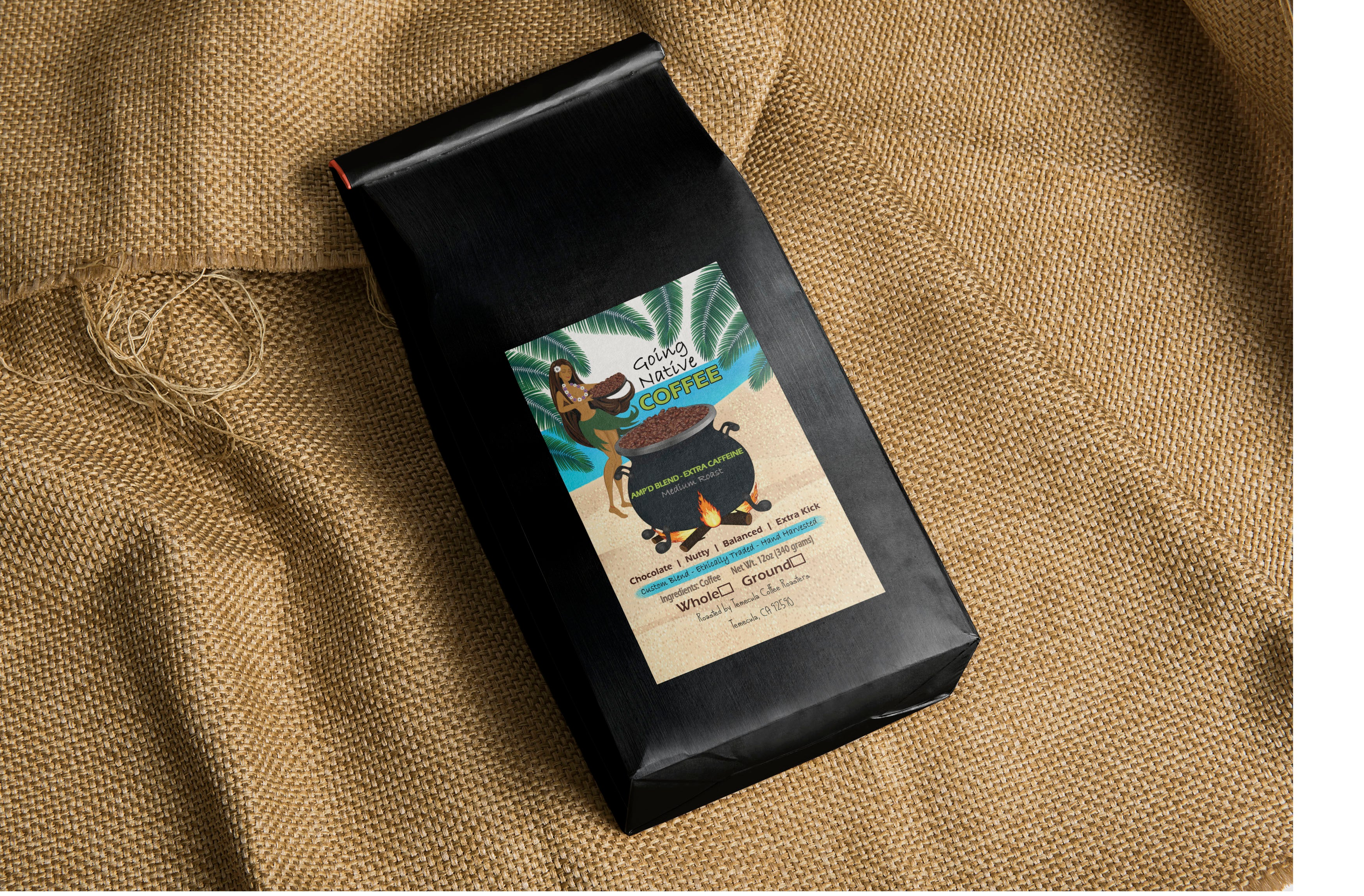 Amp'd Blend - Coffee Beans with Extra Caffeine Naturally - Going Native Coffee Club