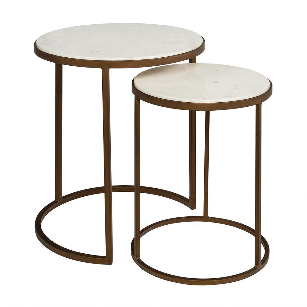 Asha Nested Side Tables marble top brass frame