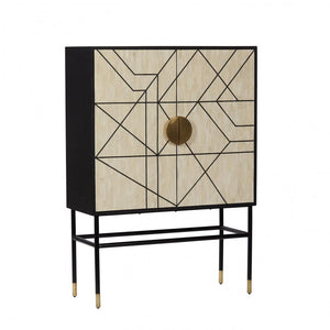 Abstract 2 door cabinet metalic and bone inlay