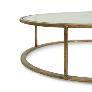 Belmond Coffee Table brass with glass top side view