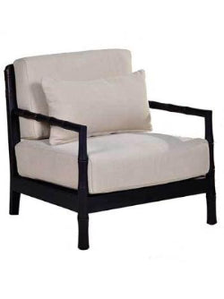 Bamboo Occasional Chair fabric cushion and dark bamboo frame