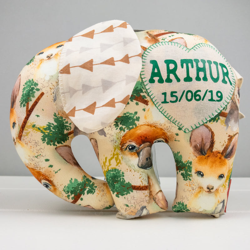 Elephant Softie, large - Aussie Animal fabric