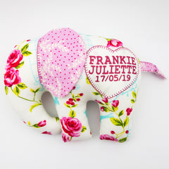 Elephant Softie, large - Bird Cages and Roses fabric