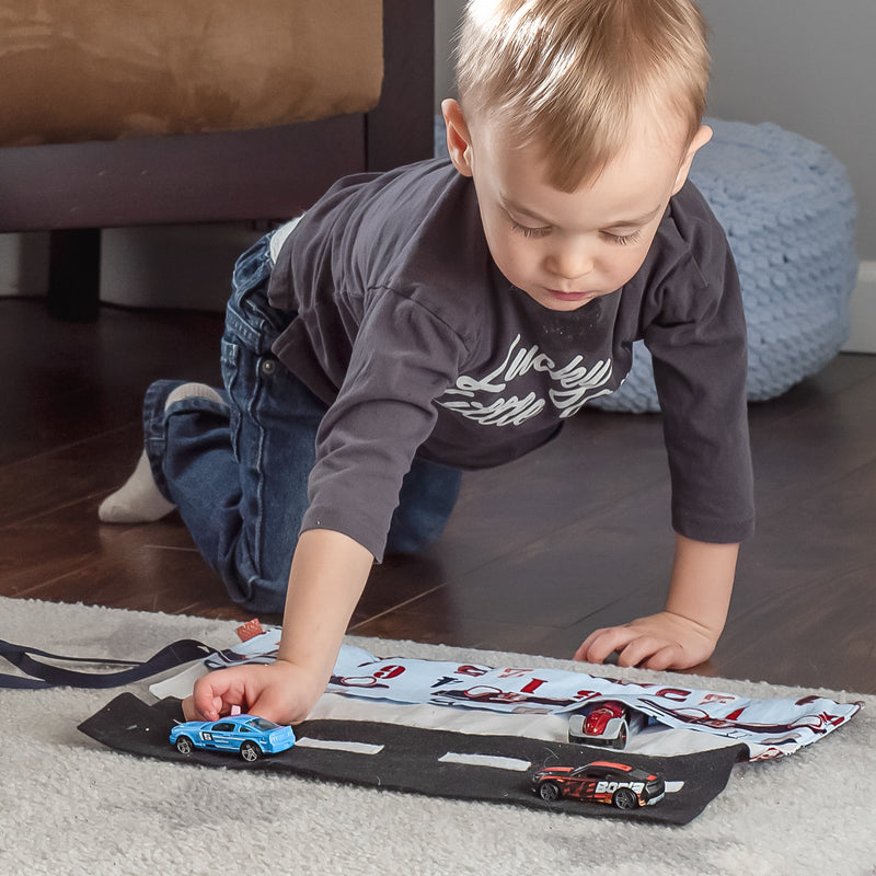 Car Playmat - Blue Race Car fabric