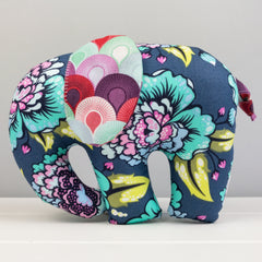 Elephant Softie, large - Blue with Big Flowers fabric