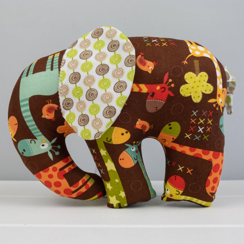 Elephant Softie, large - Giraffes on Brown fabric