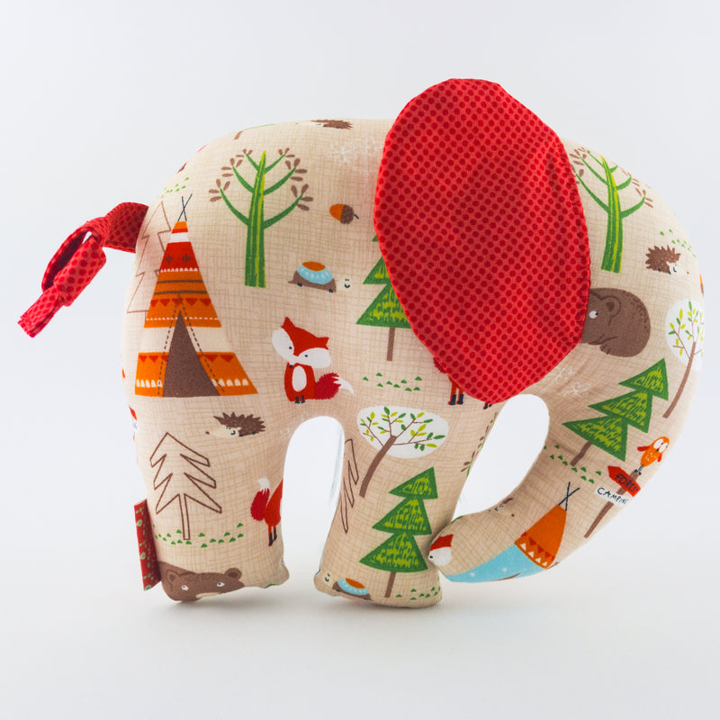 Elephant Softie, large - Brown Woodlands fabric