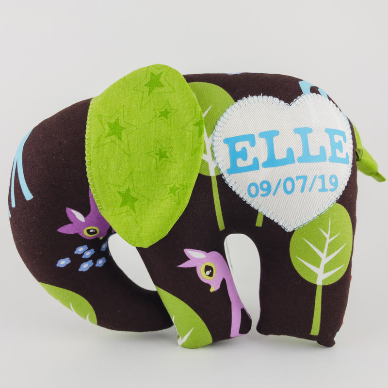Elephant Softie, large - Deer on Chocolate fabric