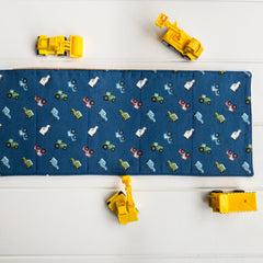 Construction Playmat - Dark Blue Tractors and Cars fabric