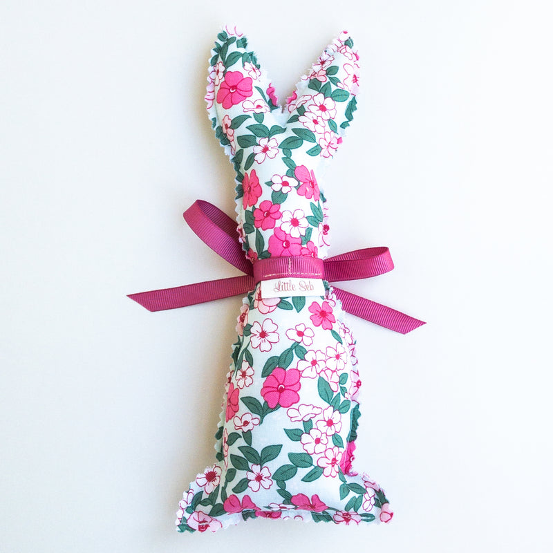 Easter Bunny Softie - Powder Blue Flower fabric