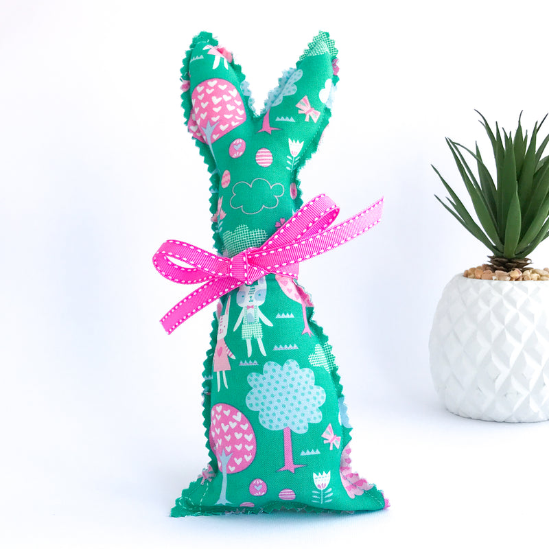 Easter Bunny Softie - Green Rabbits and Trees fabric
