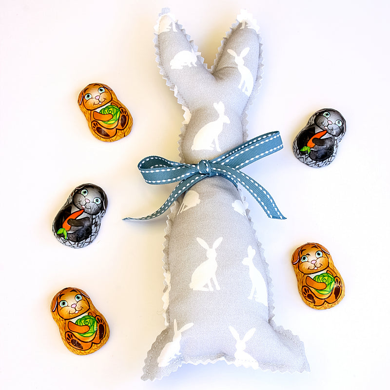 Easter Bunny Softie - Grey Rabbit fabric