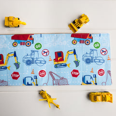 Construction Playmat - Light Blue Construction fabric