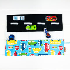 Car Playmat - Light Blue Bubble Cars fabric