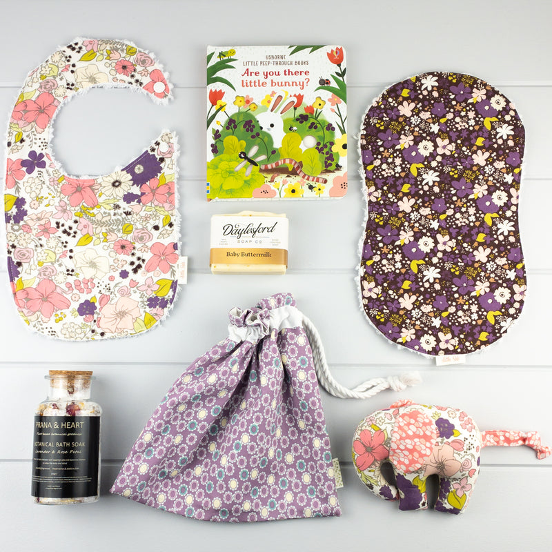 Baby Girl Gift Set - Purple Meadow fabric