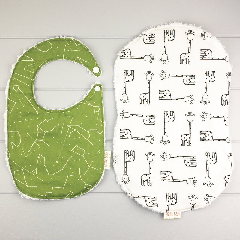 Neutral Baby Gift Set - Green Love fabric
