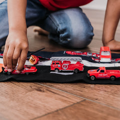 Fire Engine Playmat - Navy Fire Engine fabric