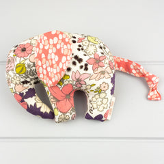 Elephant Softie, small - Purple Meadow fabric