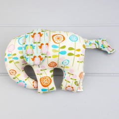 Elephant Softie, small - Flowers & Birds fabric