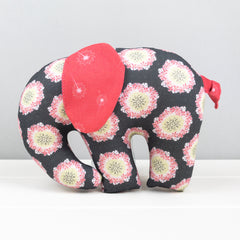 Elephant Softie, large - Grey with Flowers fabric