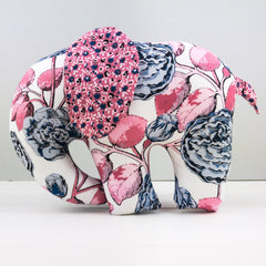 Elephant Softie, large - Sweet Stems White fabric